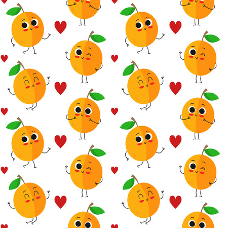 Apricots, vector seamless pattern with cute fruit characters and hearts isolated on white