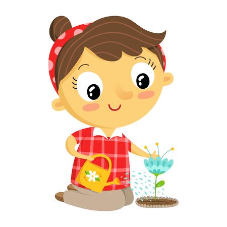 Girl gardener, vector cartoon character isolated on white