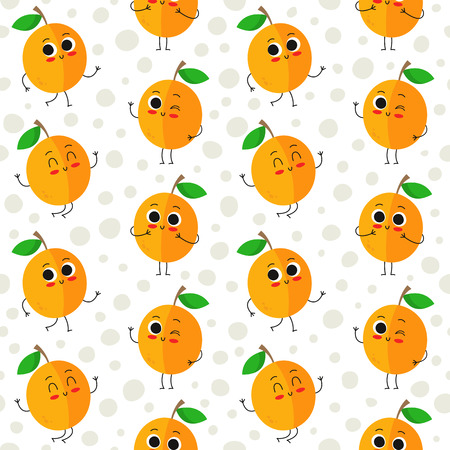 Apricots, vector seamless pattern with cute fruit characters on dotted background Иллюстрация
