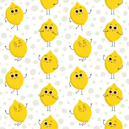 Lemon, vector seamless pattern with cute fruit characters on dotted background