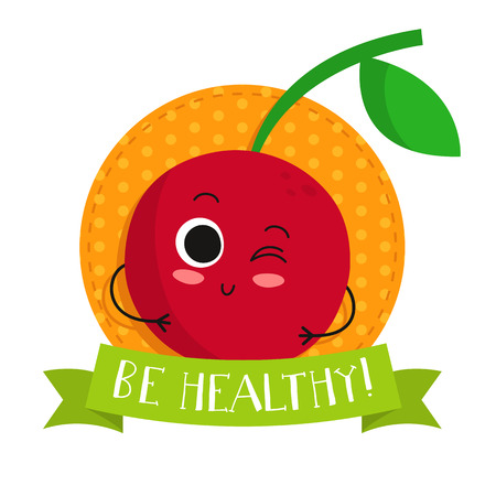 Cherry, cute fruit vector character badge, bright illustration on dotted round background with Be healthy! slogan Иллюстрация