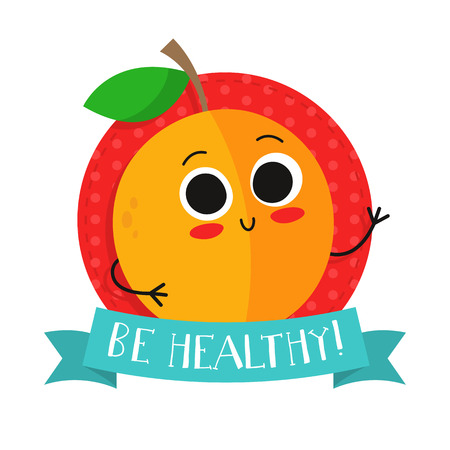 Apricot, cute fruit vector character badge, bright illustration on dotted round background with Be healthy! slogan