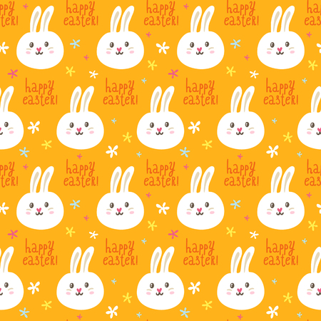 Easter vector seamless pattern with cute rabbits and flowers on bright orange background