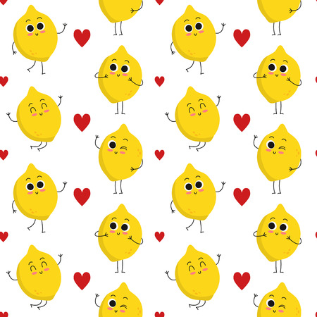 Lemon, vector seamless pattern with cute fruit characters and hearts isolated on white