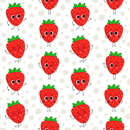 Strawberry, vector seamless pattern with cute fruit characters on dotted background