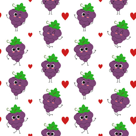 Grapes, vector seamless pattern with cute fruit characters and hearts isolated on white Иллюстрация