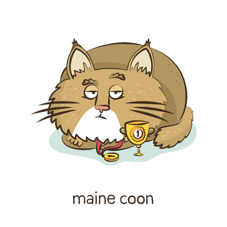 Maine coon. Cute vector cartoon cat character with medal and trophy isolated on white with breed caption Иллюстрация