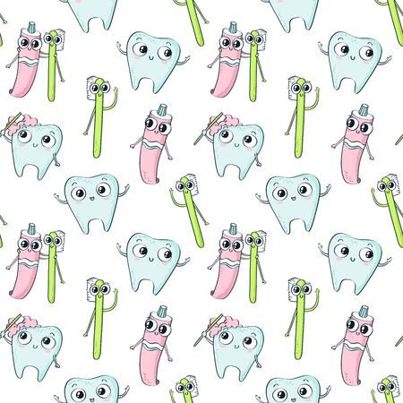 Vector seamless pattern with cute childish characters - tooth, toothpaste and toothbrush - isolated on white background, dental hygiene theme