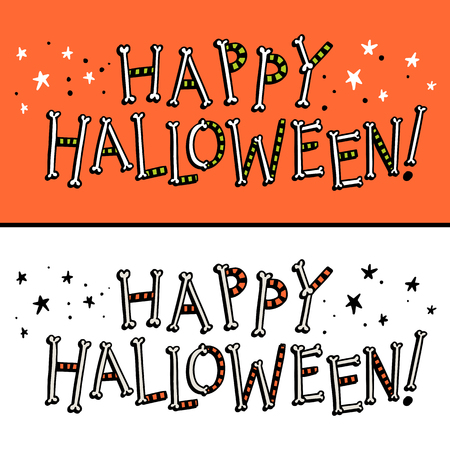 Happy Halloween bright vector cartoon text illustration made of bones and ribbons