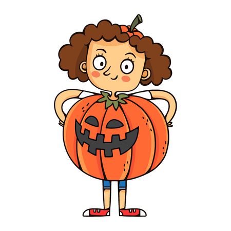 Vector cartoon girl in pumpkin Jack-o-lantern costume, funny Halloween character illustration isolated on white
