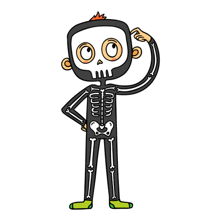 Vector cartoon boy in skeleton costume scratching head, funny Halloween character illustration isolated on white