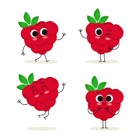 Raspberry. Cute fruit vector character set isolated on white Иллюстрация