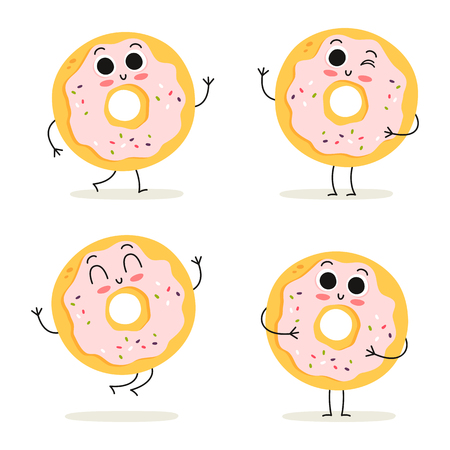 Donut. Cute fast food vector character set isolated on white
