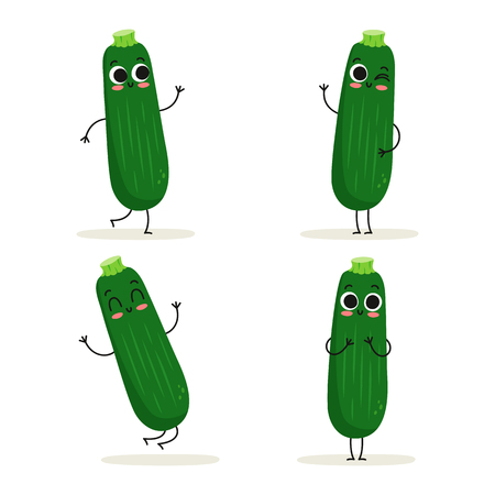 Zucchini. Cute vegetable vector character set isolated on white