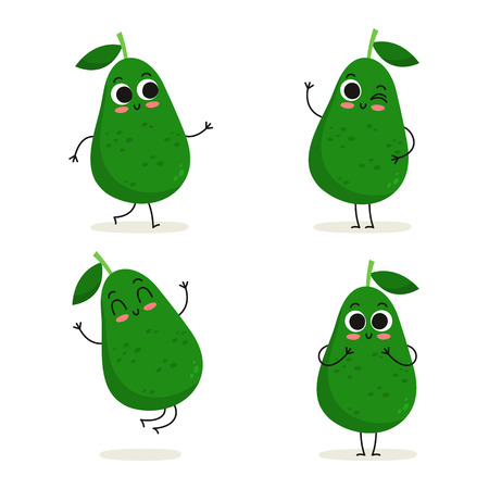 Avocado. Cute cartoon fruit vegan protein vector character set isolated on white