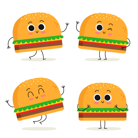 Burger. Cute fast food vector character set isolated on white