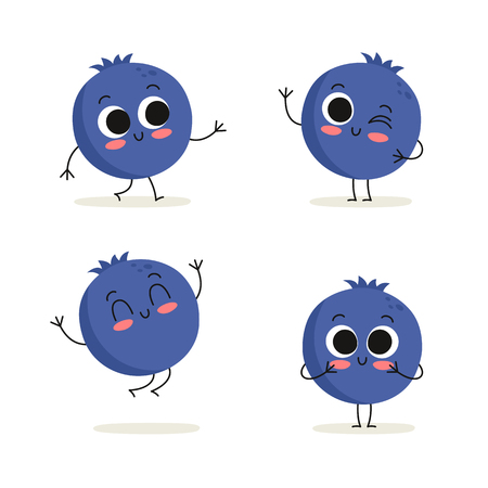 Blueberry. Cute berry vector character set isolated on white Illustration