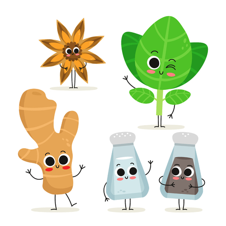 Adorable collection of five cartoon herbs & spices characters isolated on white: anise, oregano, ginger, salt and pepper shakers Illustration