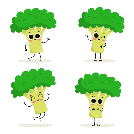 Broccoli. Cute vegetable vector character set isolated on white