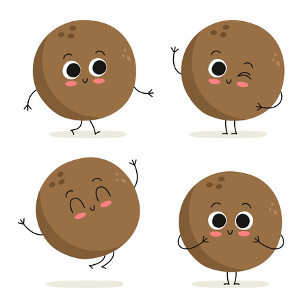 Coconut. Cute cartoon exotic fruit vector character set isolated on white
