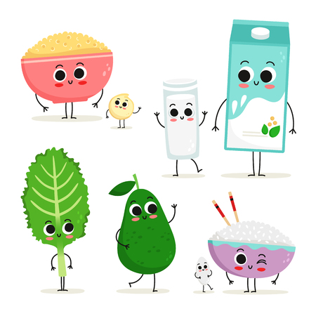 Adorable collection of five cartoon vegan protein food characters isolated on white: quinoa, soy milk, kale, avocado and rice
