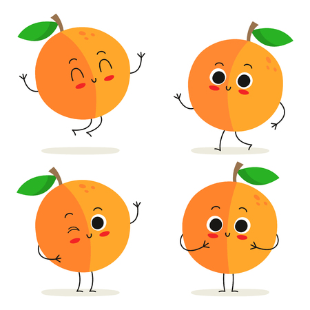 Peach. Cute fruit vector character set isolated on white  イラスト・ベクター素材