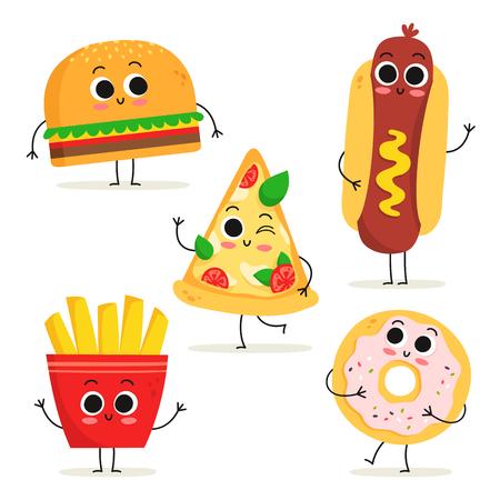 Ensemble mignon de cinq personnages de restauration rapide de dessin animé isolés sur blanc : hamburger, hot-dog, tranche de pizza, frites et beignet Vecteurs