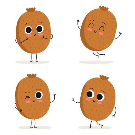 Kiwi. Cute fruit vector character set isolated on white
