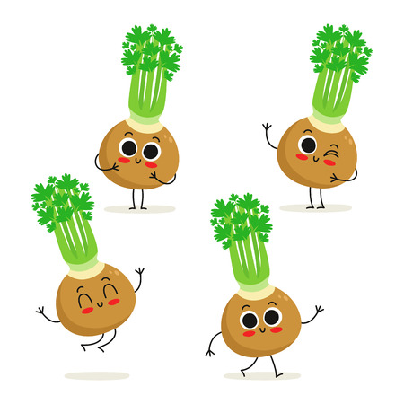 Celery. Cute vegetable vector character set isolated on white