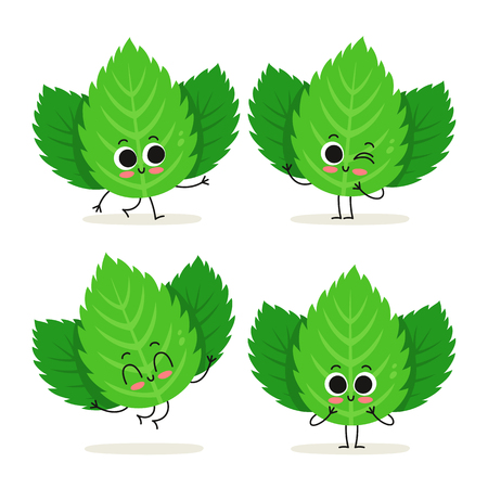 Mint. Cute herb vector character set isolated on white Иллюстрация
