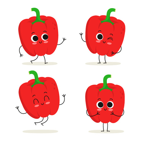 Bell pepper. Paprika. Cute vegetable vector character set isolated on white