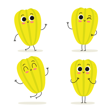 Carambola. Cute exotic fruit vector character set isolated on white Illustration