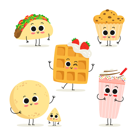 Cute set of six cartoon fast food snack characters isolated on white: taco, muffin, waffle, milkshake, tortilla and chip