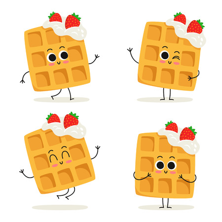Waffles with whipped cream and strawberries. Cute fast food dessert vector character set isolated on white Illustration