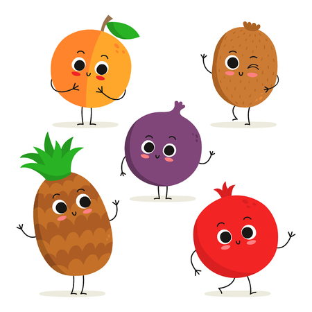 Adorable collection of five cartoon fruit characters isolated on white: peach, kiwi, fig, pineapple and pomegranate