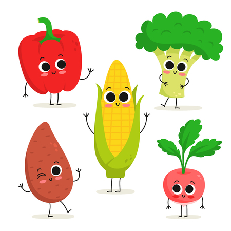 Adorable collection of five cartoon vegetable characters isolated on white: bell pepper, sweet potato, corn, broccoli, radish Illustration