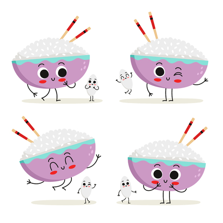Rice. Cute cartoon vegan protein food vector character set - bowl of rice with chopsticks and rice grain - isolated on white