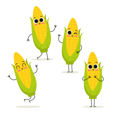 Corn. Cute vegetable vector character set isolated on white