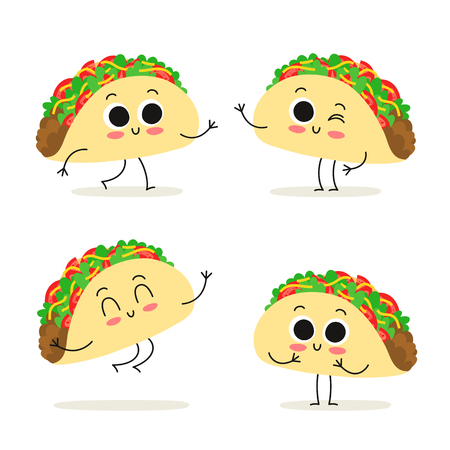 Taco. Cute fast food vector character set isolated on white