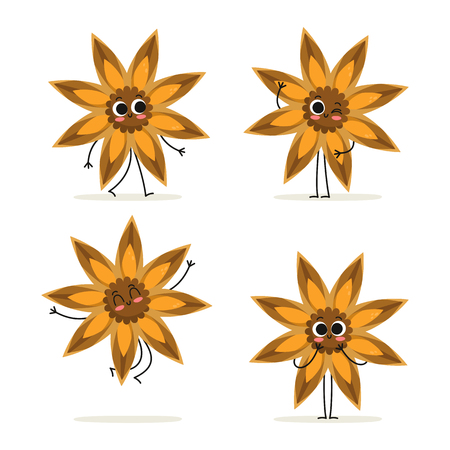 Anise. Cute spice vector character set isolated on white