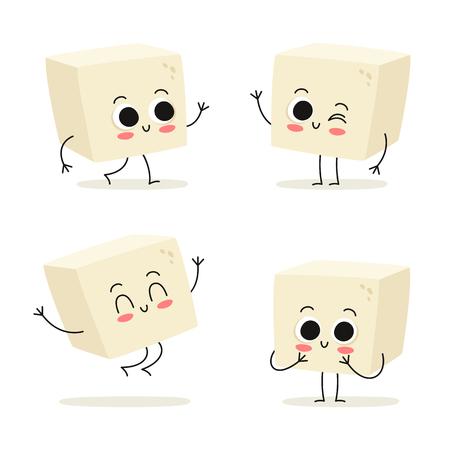 Tofu. Leuke veganistische eiwitvoedsel vector tekenset geïsoleerd op wit Vector Illustratie