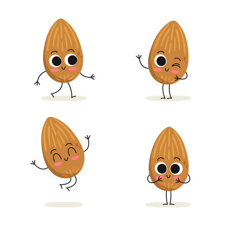 Almond nut. Cute cartoon vegan protein vector character set isolated on white  イラスト・ベクター素材