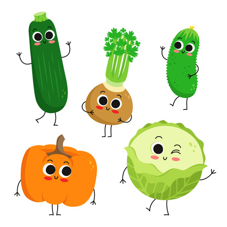Adorable collection of five cartoon vegetable characters isolated on white: zucchini, celery, pumpkin, cucumber and cabbage