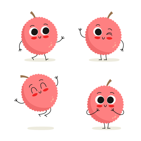 Lychee. Cute cartoon vegetable vector character set isolated on white