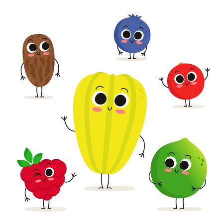 Adorable collection of six fruit and berry cartoon characters isolated on white: date, raspberry, carambola, blueberry, cranberry and lime Illustration