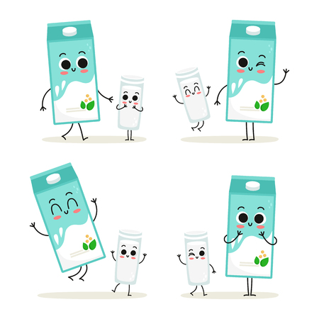 Soy milk. Cute cartoon vegan protein food vector character set - carton and glass of soy milk - isolated on white