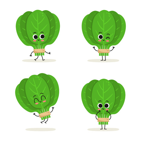 Spinach. Cute cartoon vegan protein food vector character set isolated on white Illustration