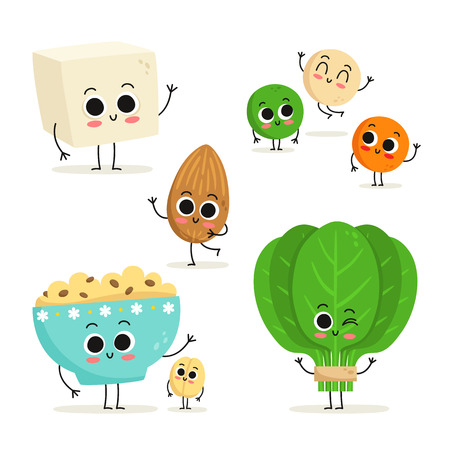 Adorable collection of five cartoon vegan protein food characters isolated on white: tofu, lentils, almond, oats and spinach Illustration