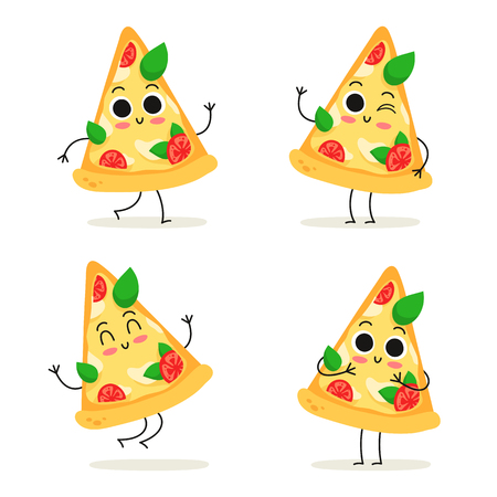 Pizza slice. Cute fast food vector character set isolated on white  イラスト・ベクター素材