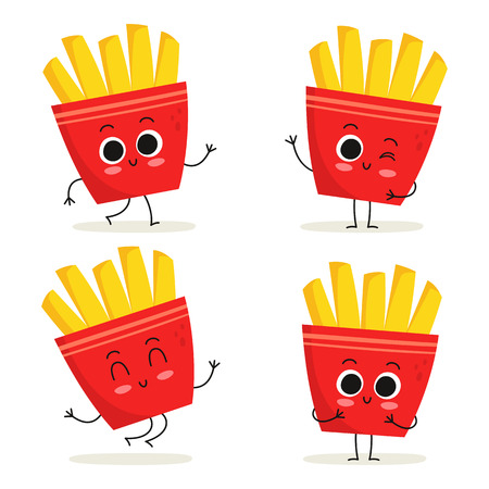 French fries. Cute fast food vector character set isolated on white